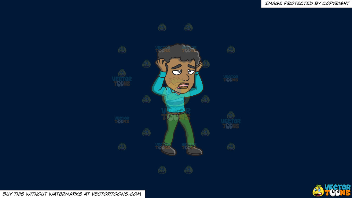 A Frustrated Black Guy Pulling At His Hair On A Solid Dark Blue 011936 Background thumbnail