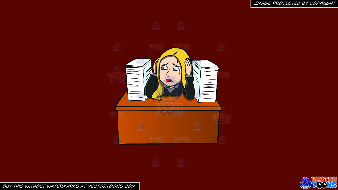 A Frustrated Female Employee With A Pile Of Paperwork On A Solid Maroon 69140e Background thumbnail