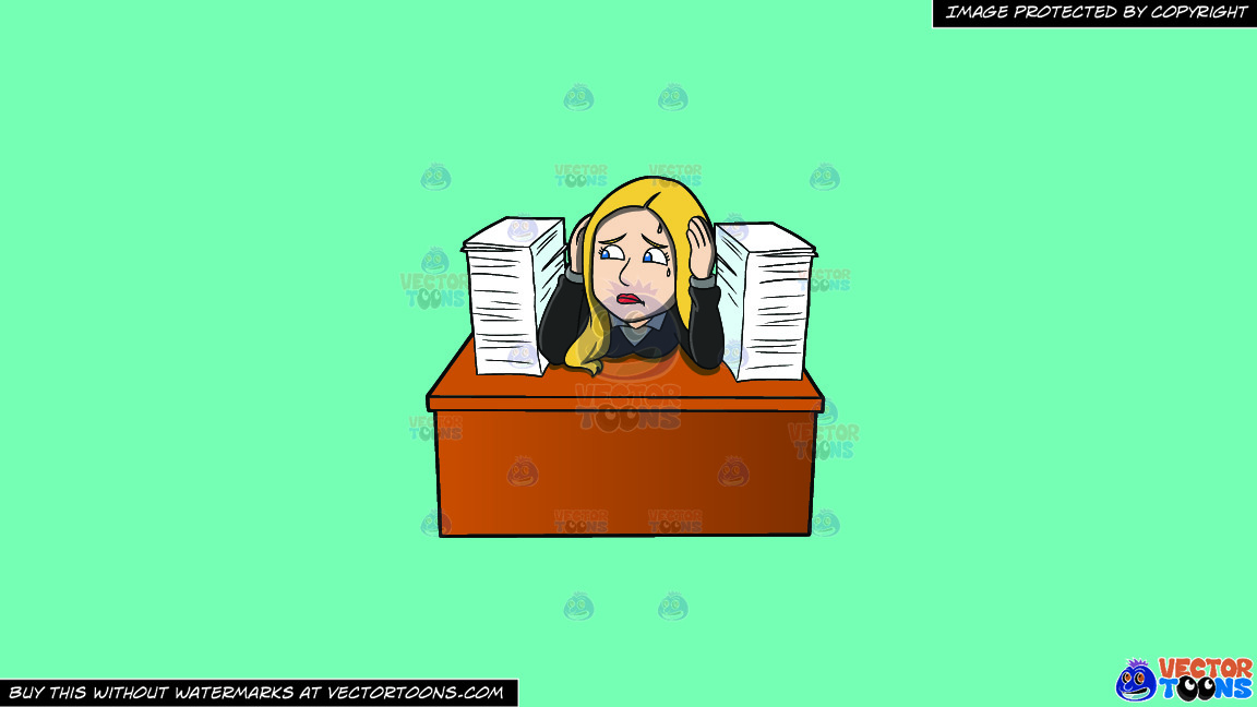 A Frustrated Female Employee With A Pile Of Paperwork On A Solid Turquiose 41ead4 Background thumbnail