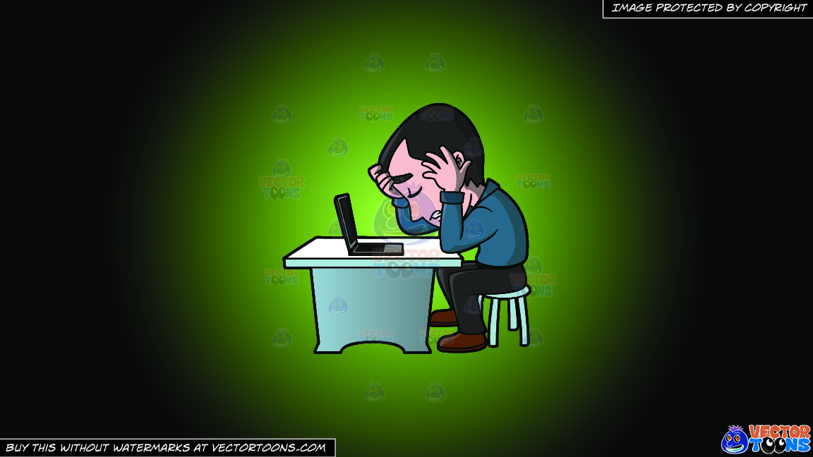 A Frustrated Man Working On His Computer On A Green And Black Gradient Background thumbnail