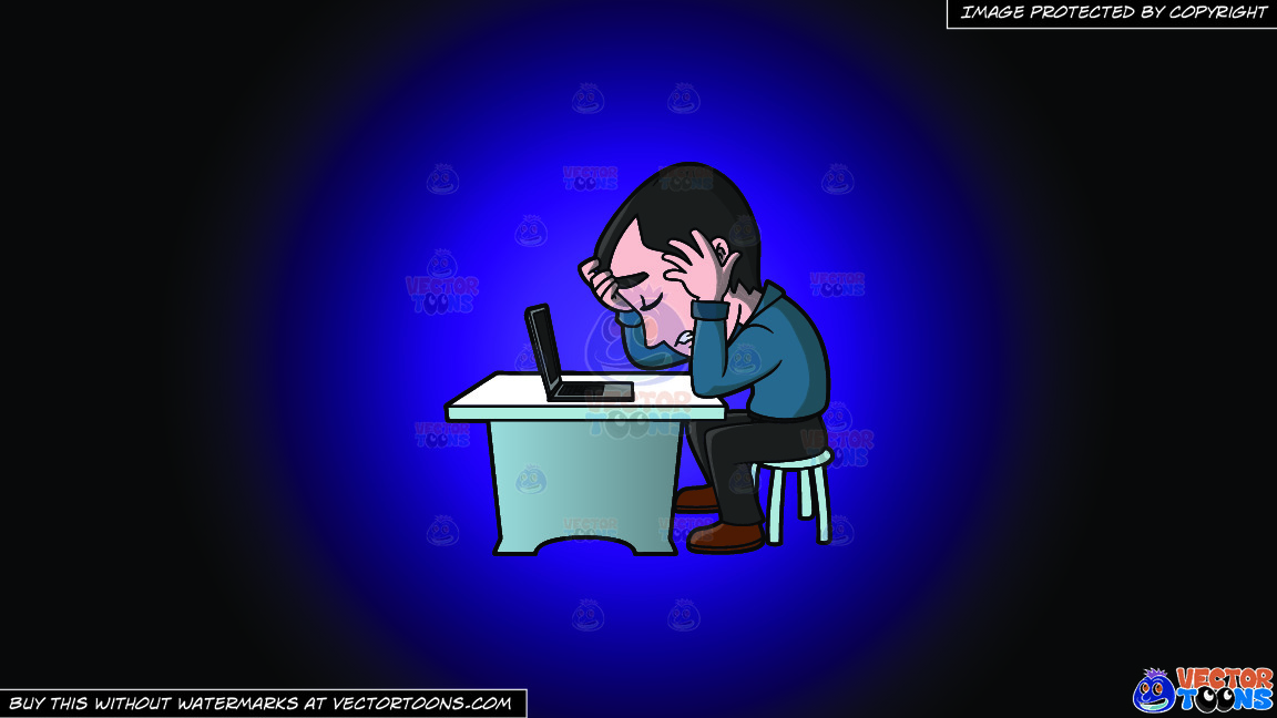 A Frustrated Man Working On His Computer On A Purple And Black Gradient Background thumbnail