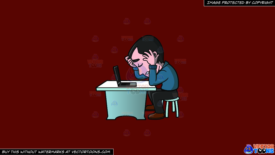 A Frustrated Man Working On His Computer On A Solid Maroon 69140e Background thumbnail