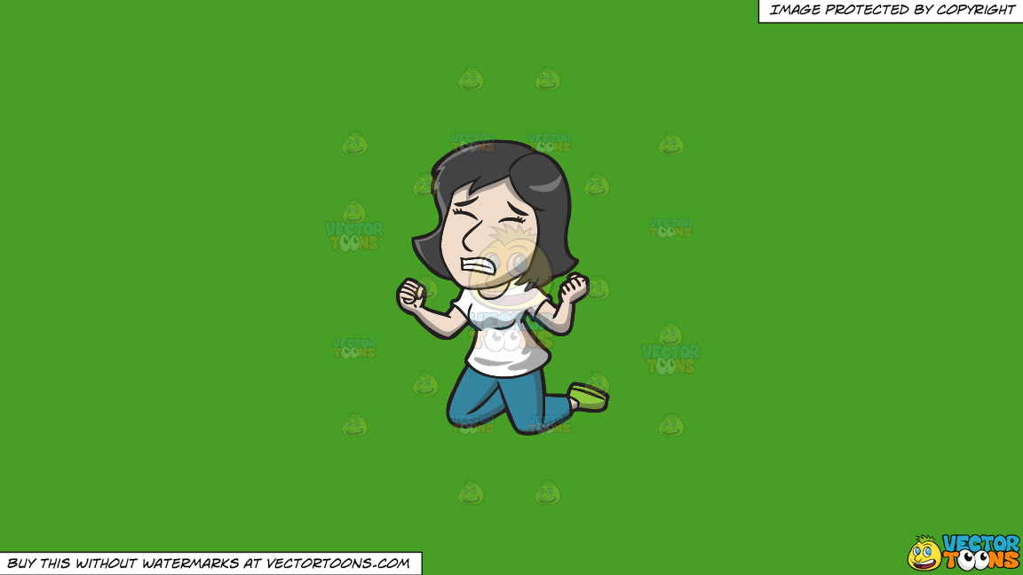 A Frustrated Woman On Her Knees On A Solid Kelly Green 47a025 Background thumbnail