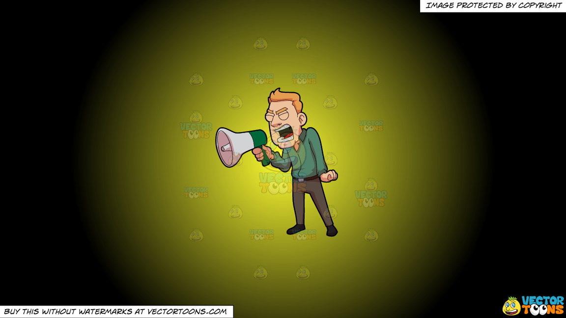 A Furious Man Shouting Over The Megaphone On A Yellow And Black Gradient Background thumbnail