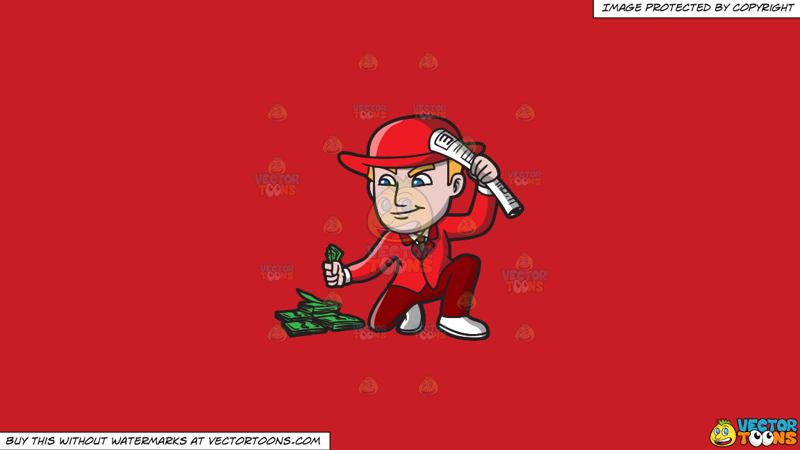 A Gambler Picking Up His Winnings On A Solid Fire Engine Red C81d25 Background thumbnail