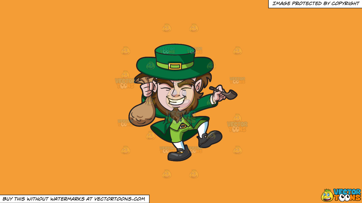 A Giddy Leprechaun With A Bag Of Gold Coins On A Solid Deep Saffron Gold F49d37 Background thumbnail