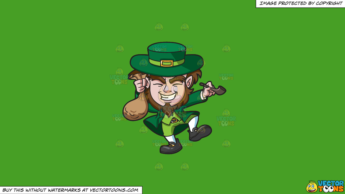 A Giddy Leprechaun With A Bag Of Gold Coins On A Solid Kelly Green 47a025 Background thumbnail