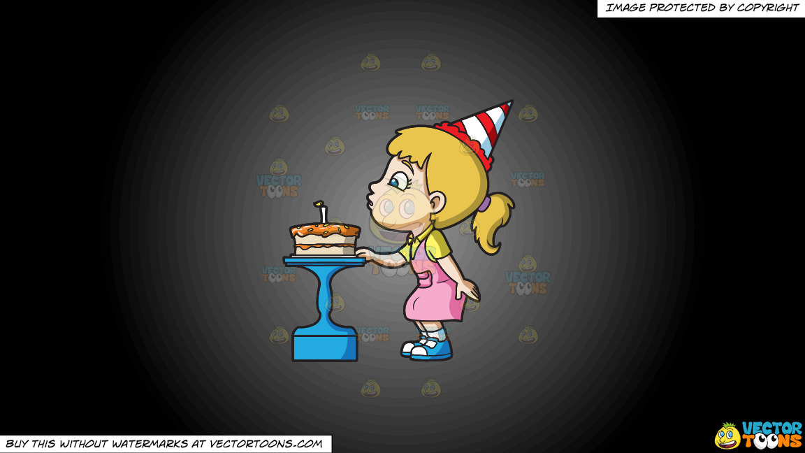 A Girl Blowing Her Birthday Cake On A Grey And Black Gradient Background thumbnail