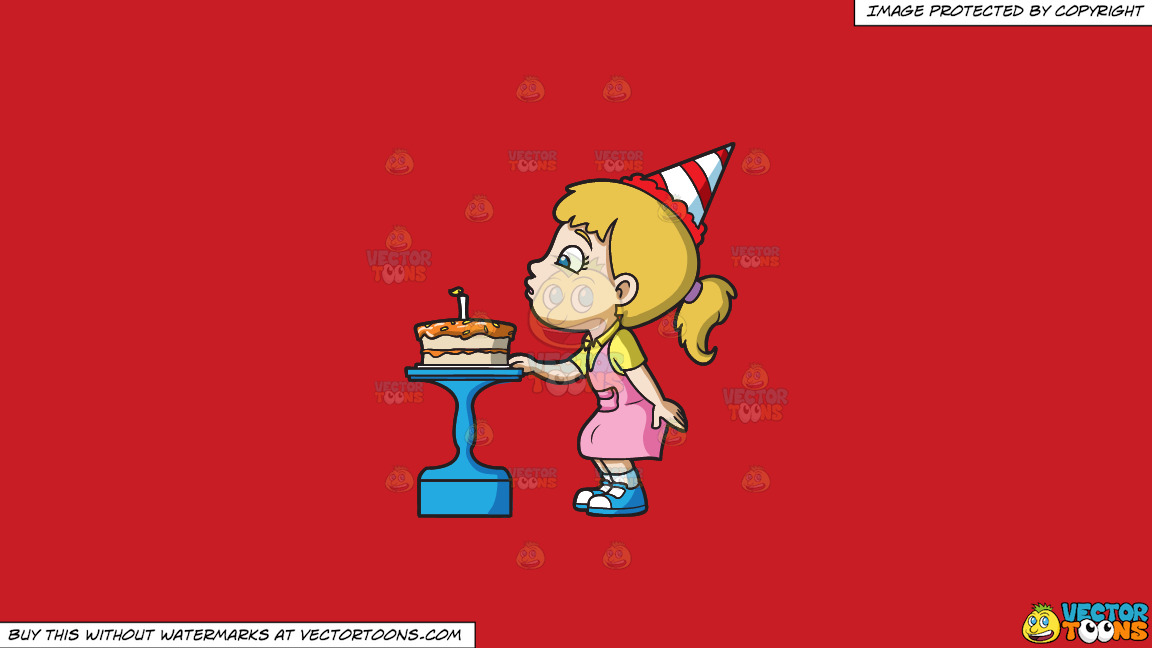 A Girl Blowing Her Birthday Cake On A Solid Fire Engine Red C81d25 Background thumbnail