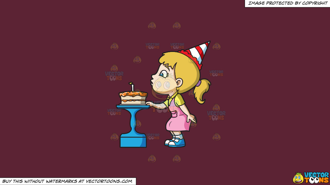 A Girl Blowing Her Birthday Cake On A Solid Red Wine 5b2333 Background thumbnail