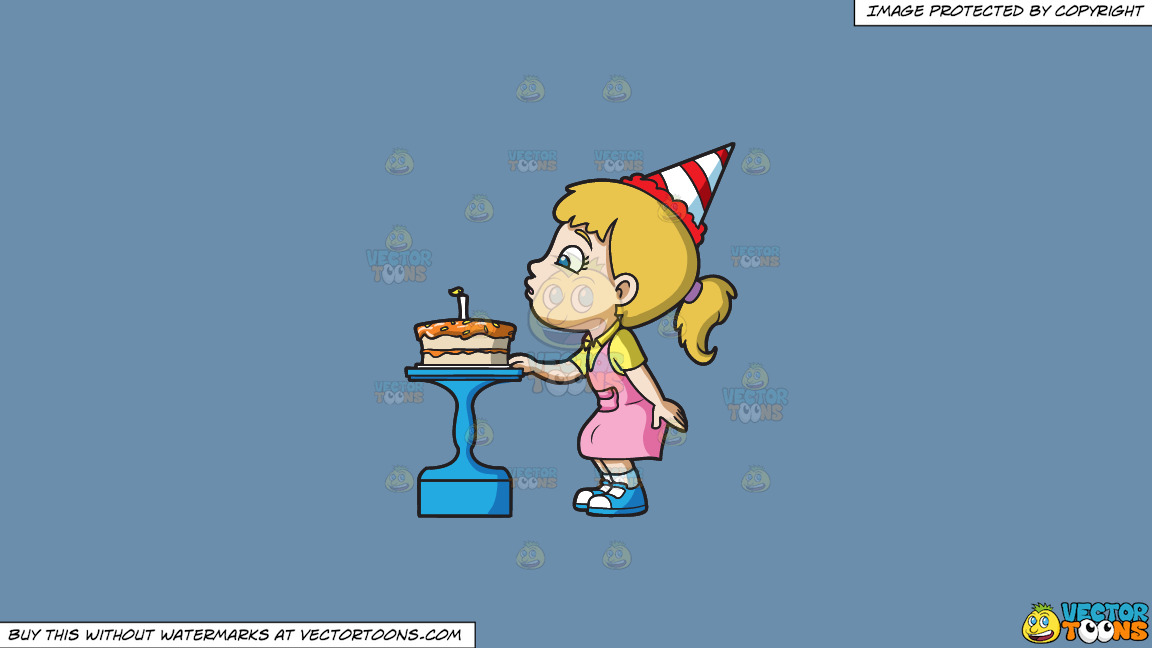 A Girl Blowing Her Birthday Cake On A Solid Shadow Blue 6c8ead Background thumbnail