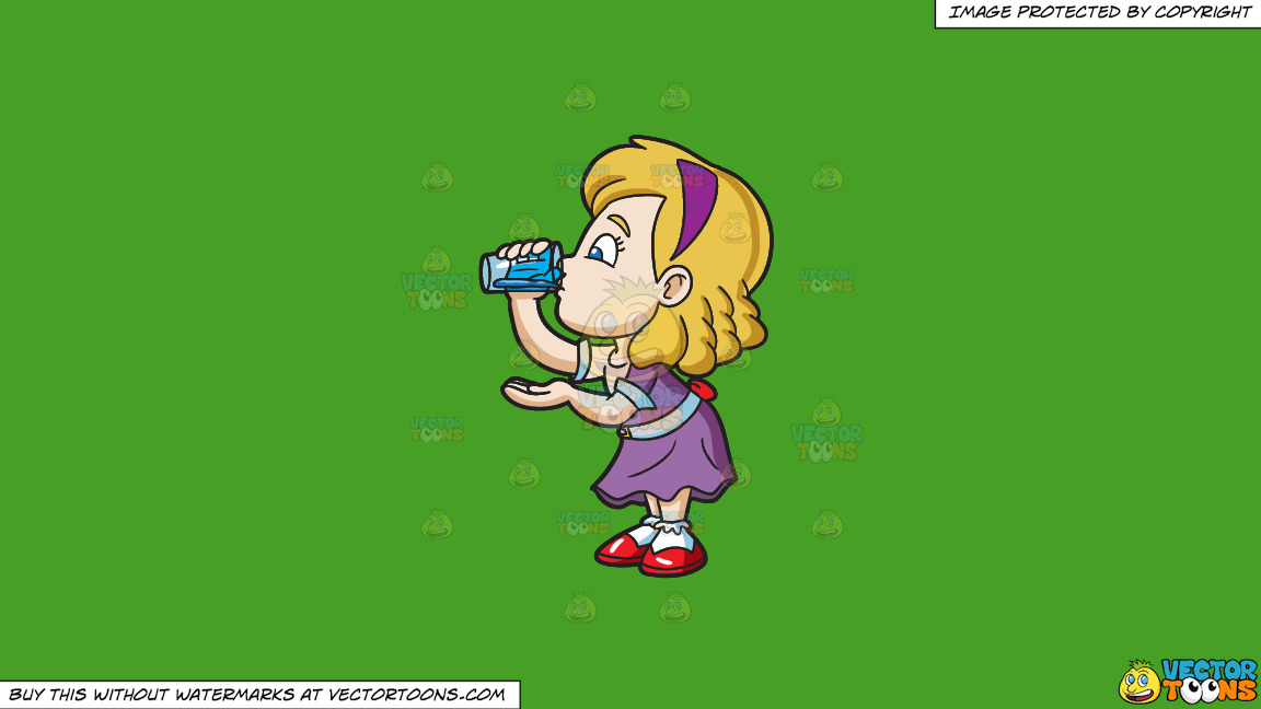 A Girl Carefully Drinks A Glass Of Water On A Solid Kelly Green 47a025 Background thumbnail