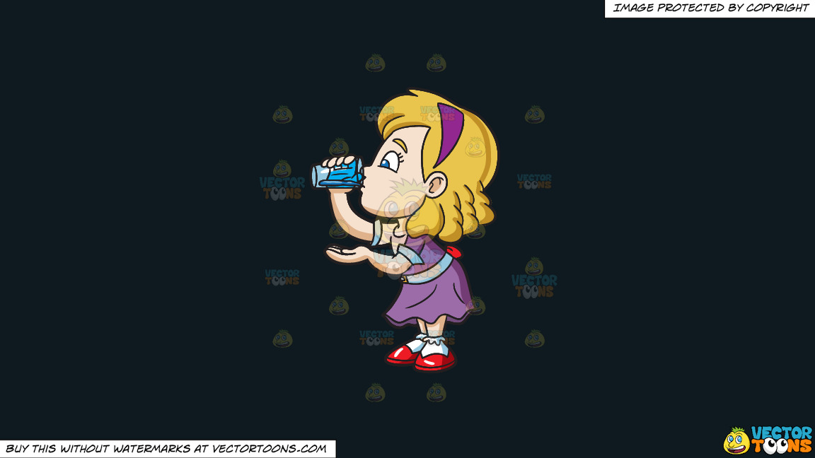 A Girl Carefully Drinks A Glass Of Water On A Solid Off Black 0f1a20 Background thumbnail