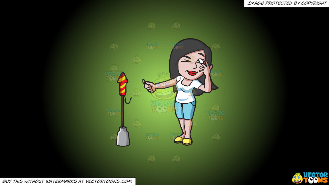 A Girl Carefully Lights A Firecracker With Her Lighter On A Green And Black Gradient Background thumbnail