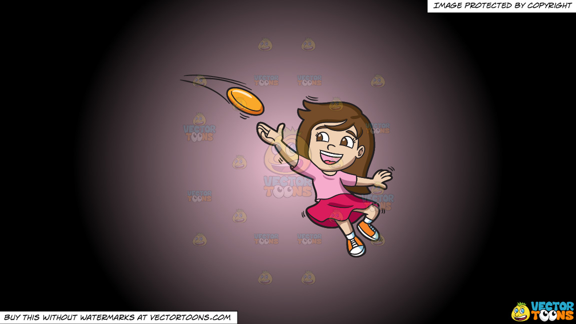 A Girl Catching A Flying Disc On A Pink And Black Gradient Background thumbnail
