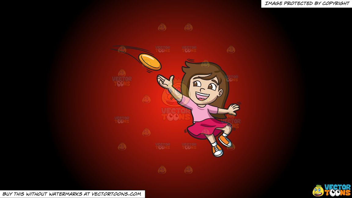 A Girl Catching A Flying Disc On A Red And Black Gradient Background thumbnail