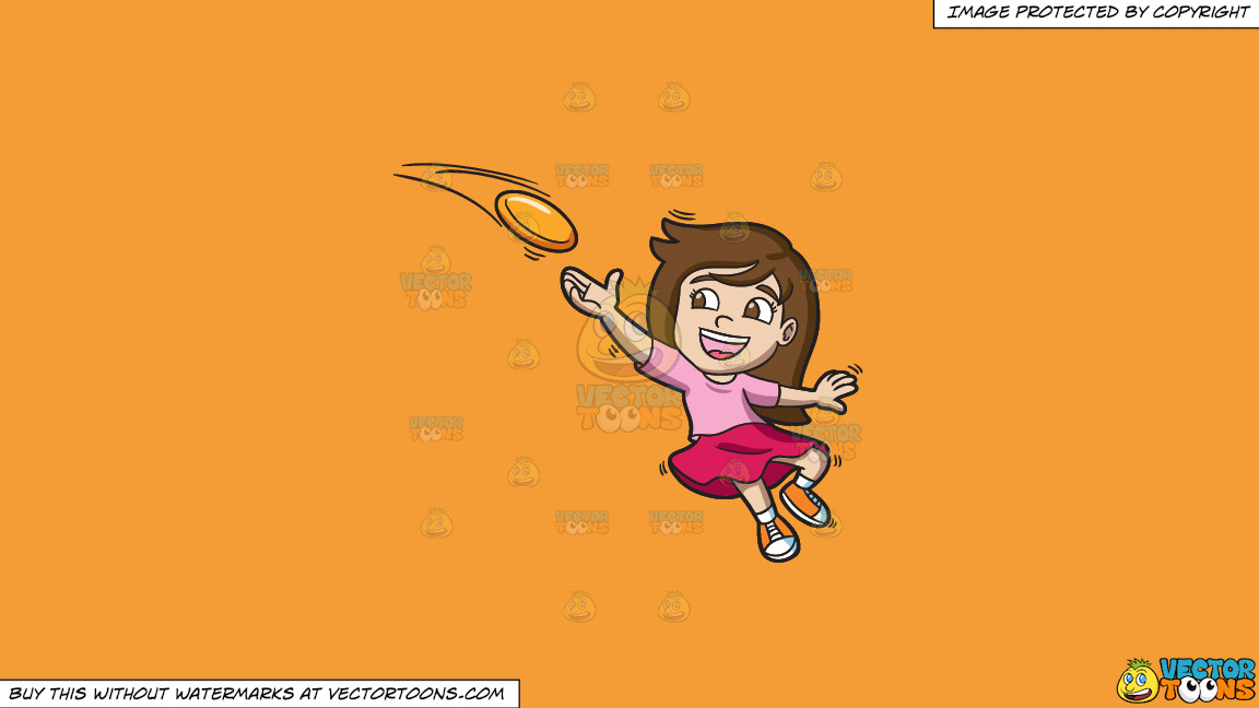A Girl Catching A Flying Disc On A Solid Deep Saffron Gold F49d37 Background thumbnail