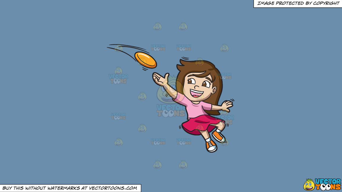 A Girl Catching A Flying Disc On A Solid Shadow Blue 6c8ead Background thumbnail