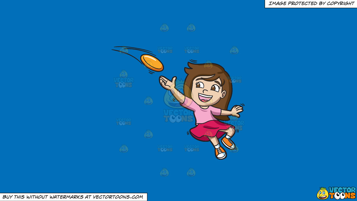 A Girl Catching A Flying Disc On A Solid Spanish Blue 016fb9 Background thumbnail