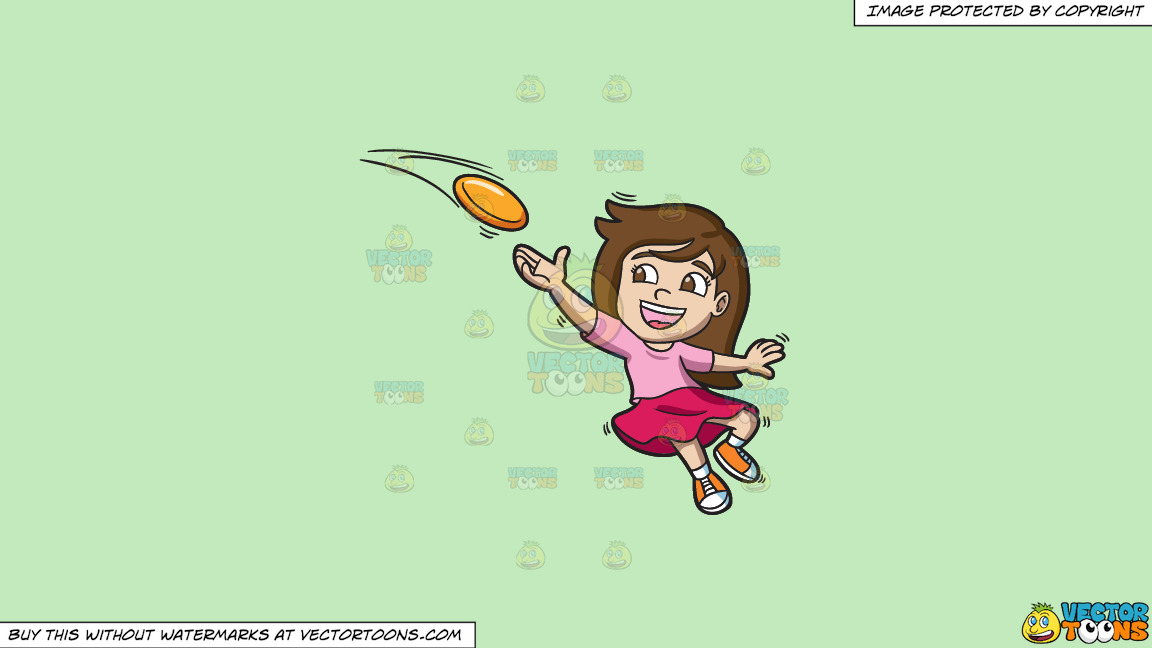 A Girl Catching A Flying Disc On A Solid Tea Green C2eabd Background thumbnail