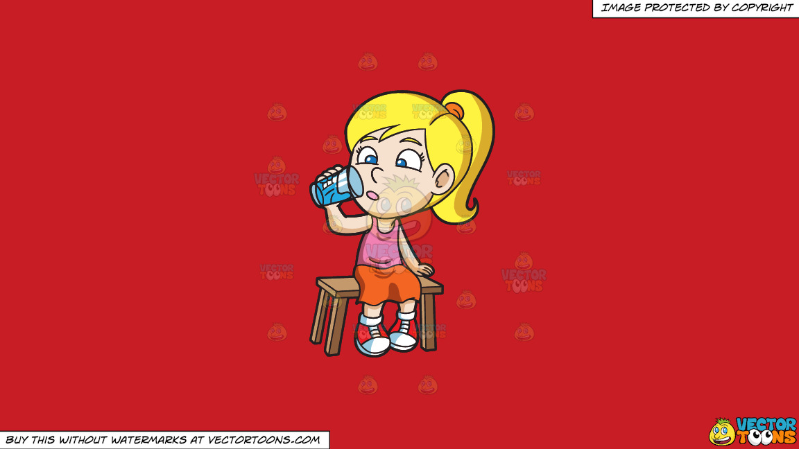 A Girl Curiously Looking At The Glass Of Water On A Solid Fire Engine Red C81d25 Background thumbnail