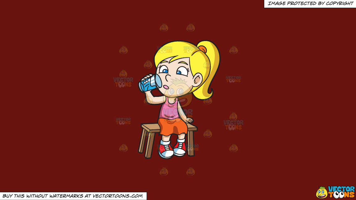 A Girl Curiously Looking At The Glass Of Water On A Solid Maroon 69140e Background thumbnail