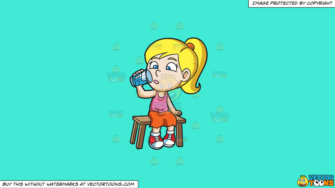 A Girl Curiously Looking At The Glass Of Water On A Solid Turquiose 41ead4 Background thumbnail