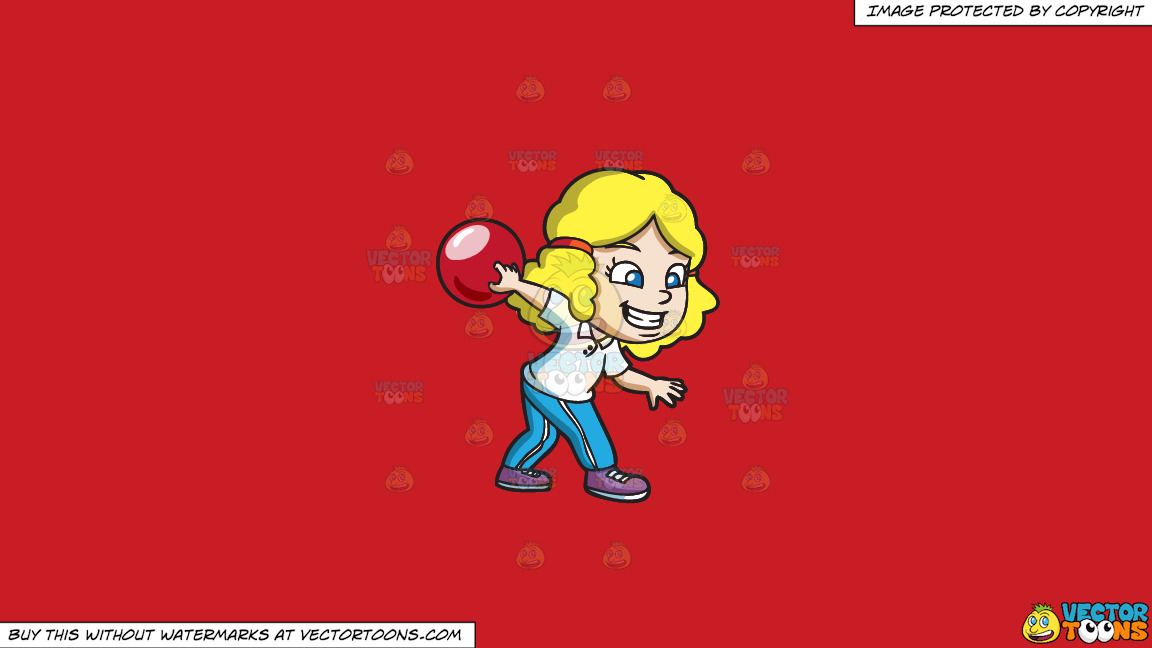 A Girl Enjoying The Game Of Bowling On A Solid Fire Engine Red C81d25 Background thumbnail