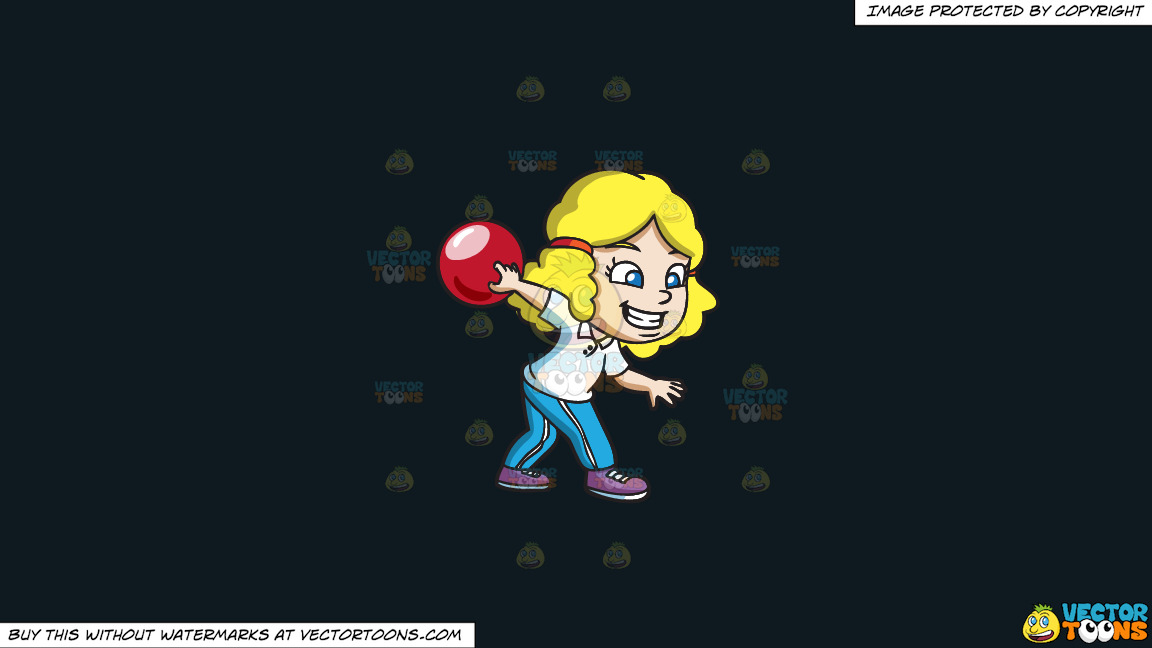 A Girl Enjoying The Game Of Bowling On A Solid Off Black 0f1a20 Background thumbnail
