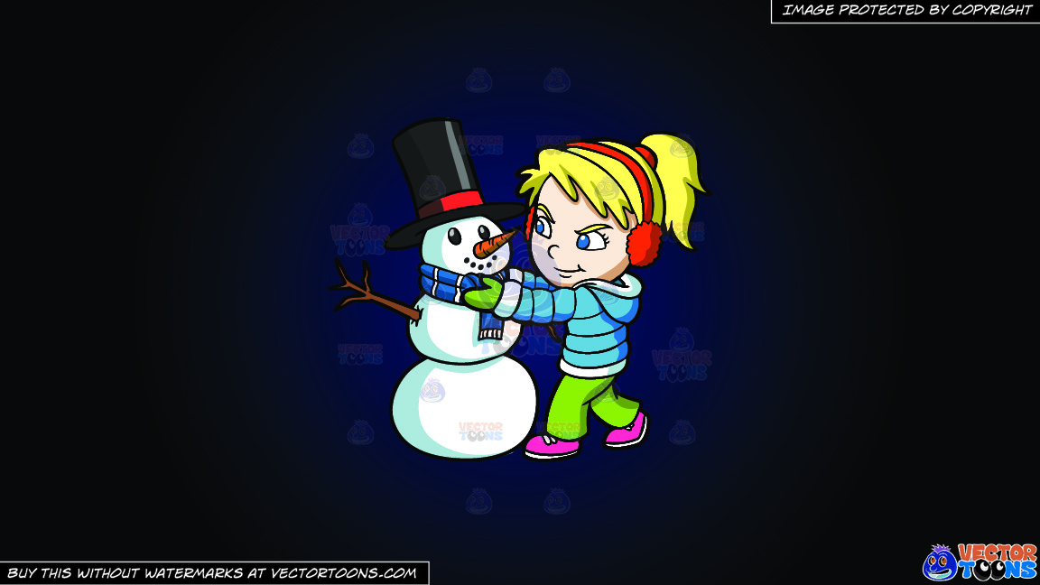 A Girl Fixing The Scarf Of A Snowman On A Dark Blue And Black Gradient Background thumbnail