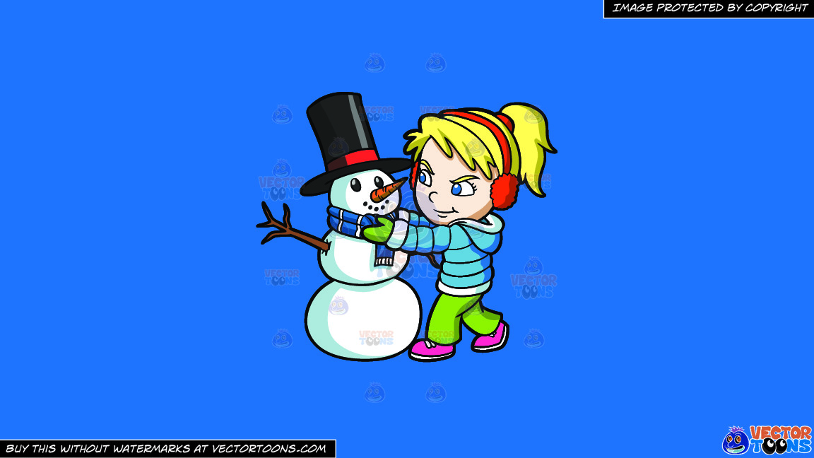 A Girl Fixing The Scarf Of A Snowman On A Solid Spanish Blue 016fb9 Background thumbnail