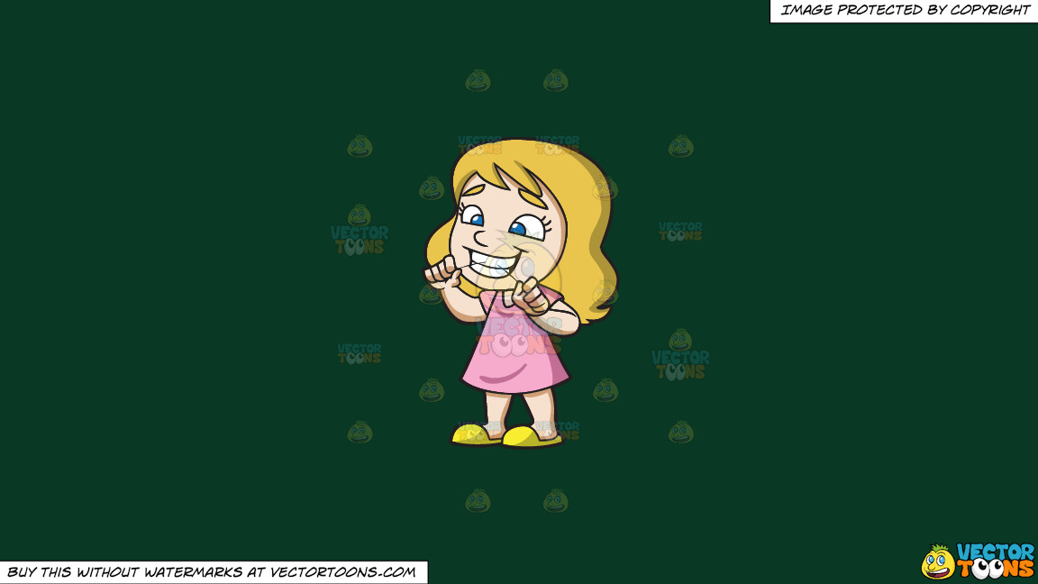 A Girl Flossing Her Teeth At Home On A Solid Dark Green 093824 Background thumbnail