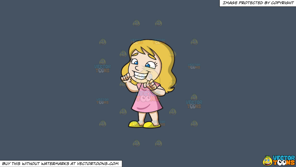 A Girl Flossing Her Teeth At Home On A Solid Metal Grey 465362 Background thumbnail