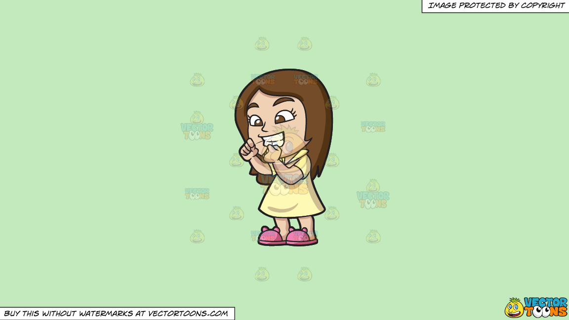A Girl Flossing Her Teeth Before Bedtime On A Solid Tea Green C2eabd Background thumbnail