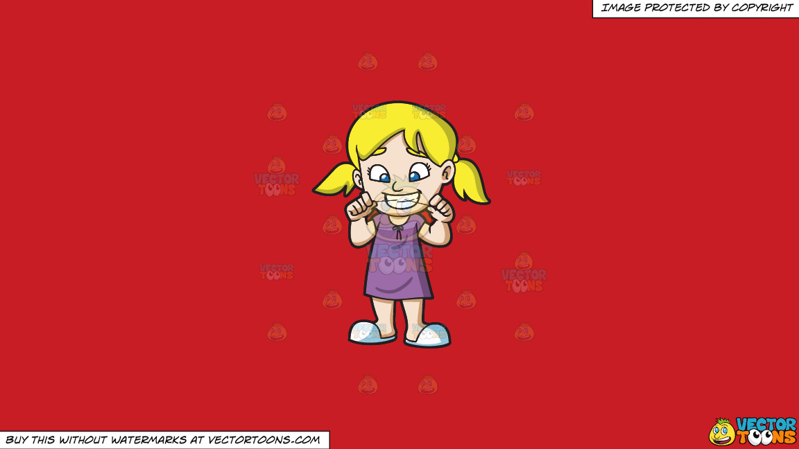 A Girl Flossing Her Teeth Before She Goes To Bed On A Solid Fire Engine Red C81d25 Background thumbnail