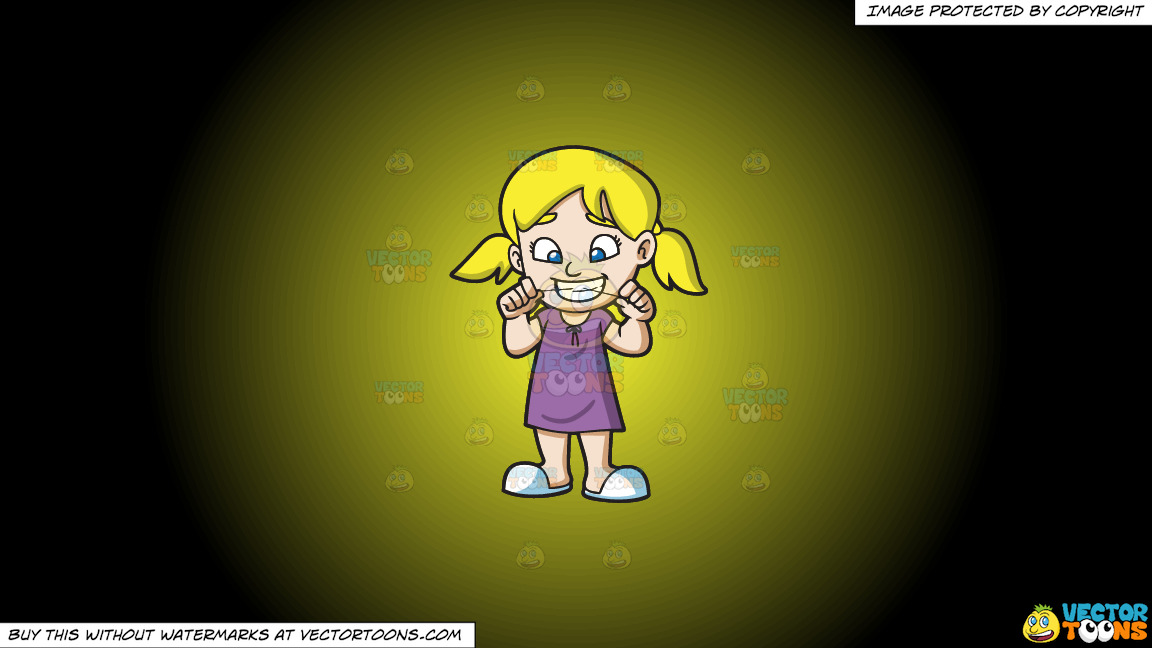 A Girl Flossing Her Teeth Before She Goes To Bed On A Yellow And Black Gradient Background thumbnail