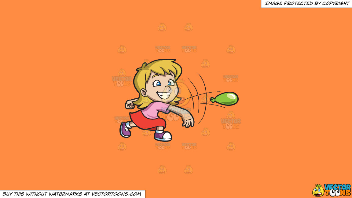 A Girl Having Fun While Throwing A Water Balloon On A Solid Mango Orange Ff8c42 Background thumbnail