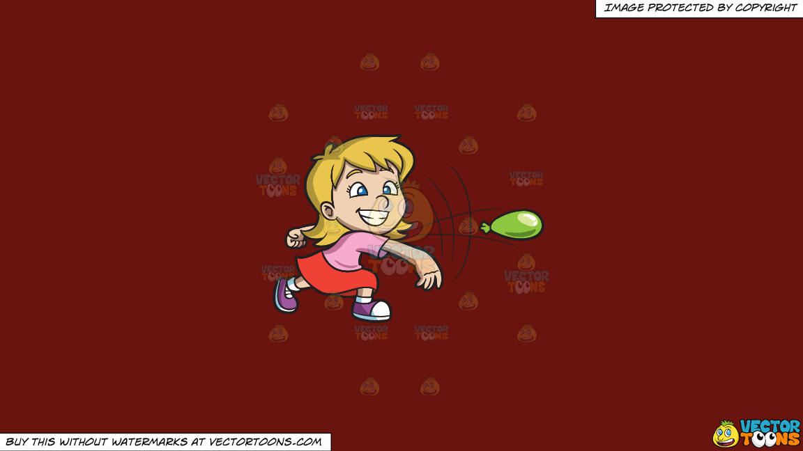 A Girl Having Fun While Throwing A Water Balloon On A Solid Maroon 69140e Background thumbnail