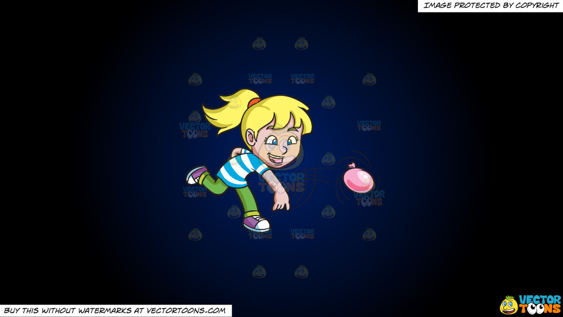 A Girl Having Fun With Water Balloons On A Dark Blue And Black Gradient Background thumbnail