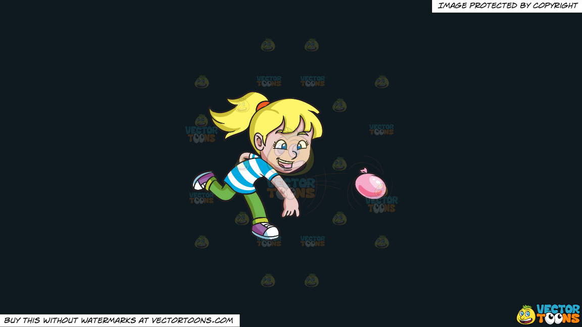 A Girl Having Fun With Water Balloons On A Solid Off Black 0f1a20 Background thumbnail