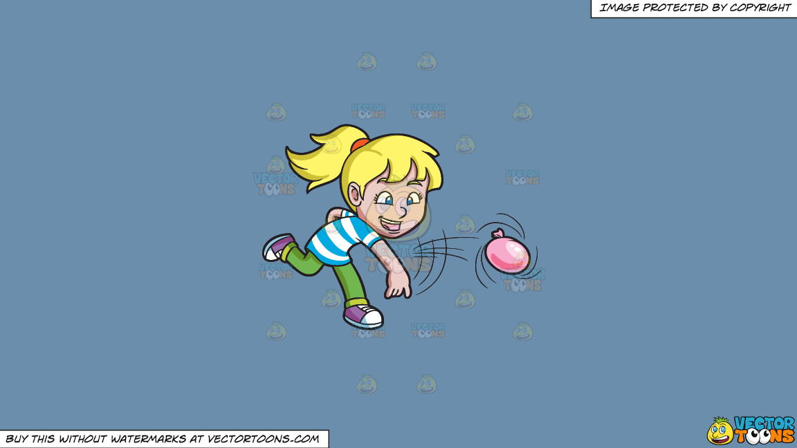 A Girl Having Fun With Water Balloons On A Solid Shadow Blue 6c8ead Background thumbnail