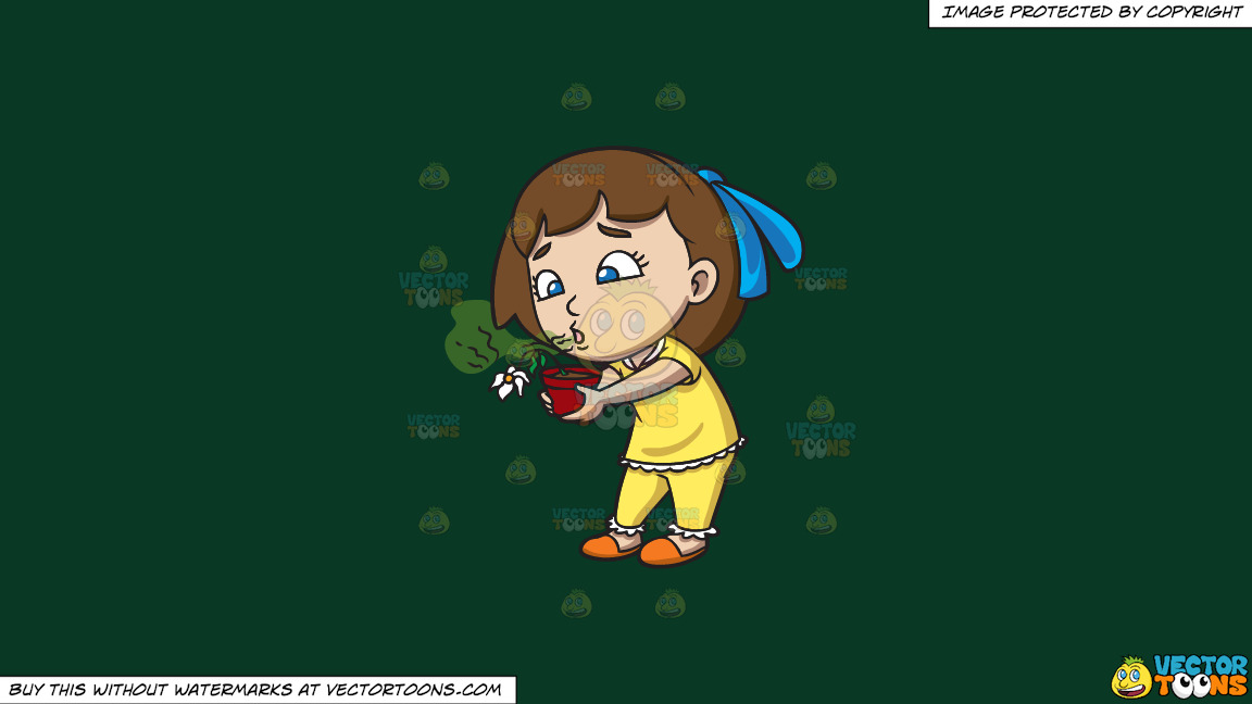 A Girl Kills A Flower With Her Bad Breath On A Solid Dark Green 093824 Background thumbnail