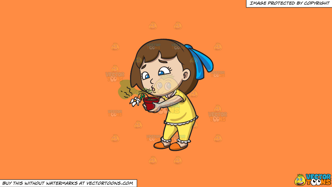 A Girl Kills A Flower With Her Bad Breath On A Solid Mango Orange Ff8c42 Background thumbnail
