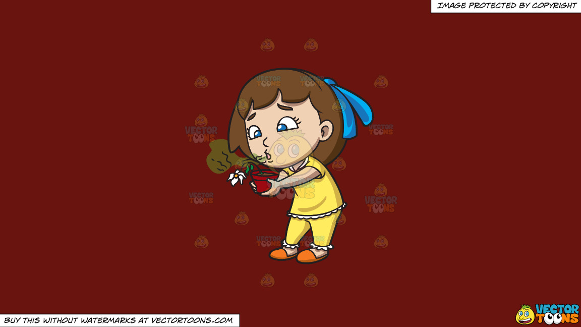 A Girl Kills A Flower With Her Bad Breath On A Solid Maroon 69140e Background thumbnail