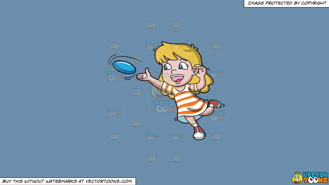 A Girl Leans Forward To Throw A Frisbee On A Solid Shadow Blue 6c8ead Background thumbnail