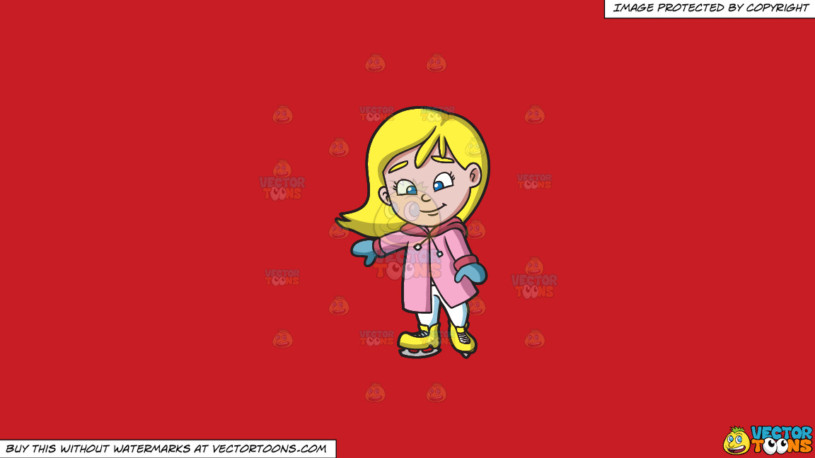 A Girl Learning How To Ice Skate On A Solid Fire Engine Red C81d25 Background thumbnail