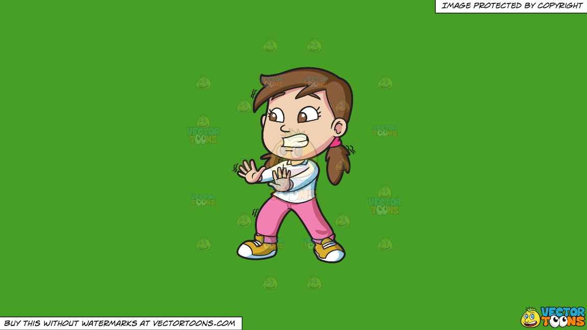 A Girl Looks Very Afraid While Trying To Stop Something On A Solid Kelly Green 47a025 Background thumbnail
