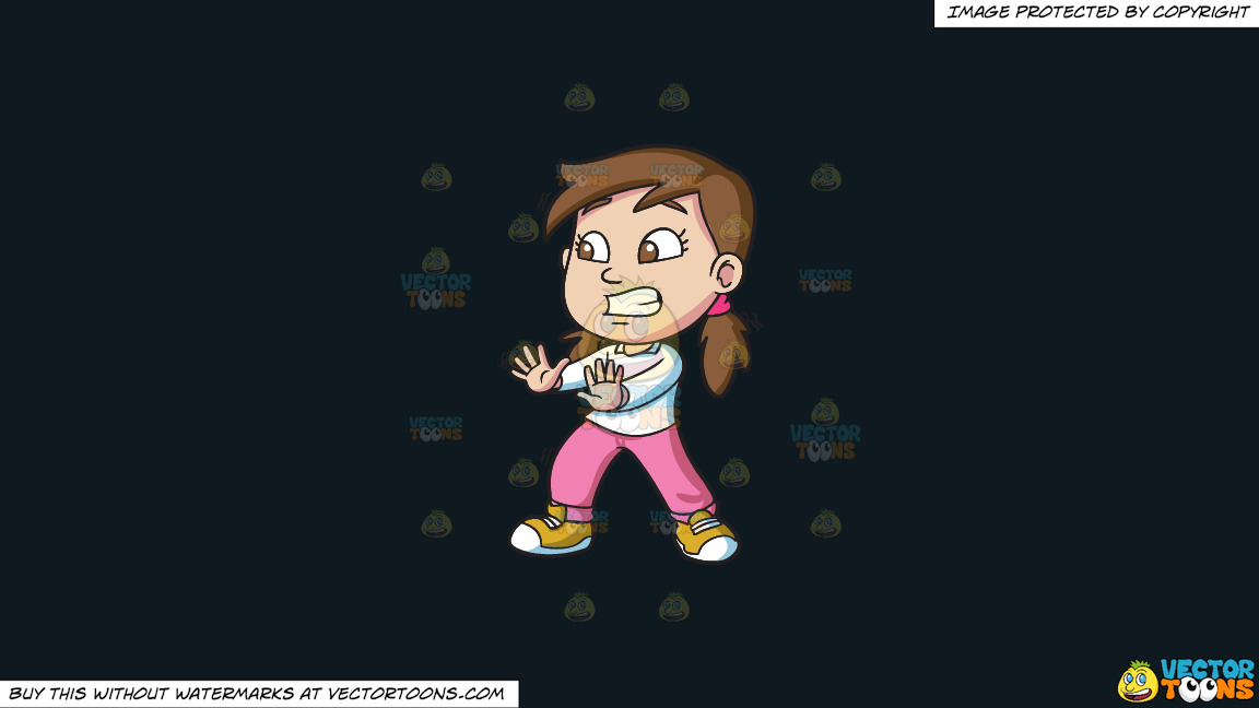 A Girl Looks Very Afraid While Trying To Stop Something On A Solid Off Black 0f1a20 Background thumbnail