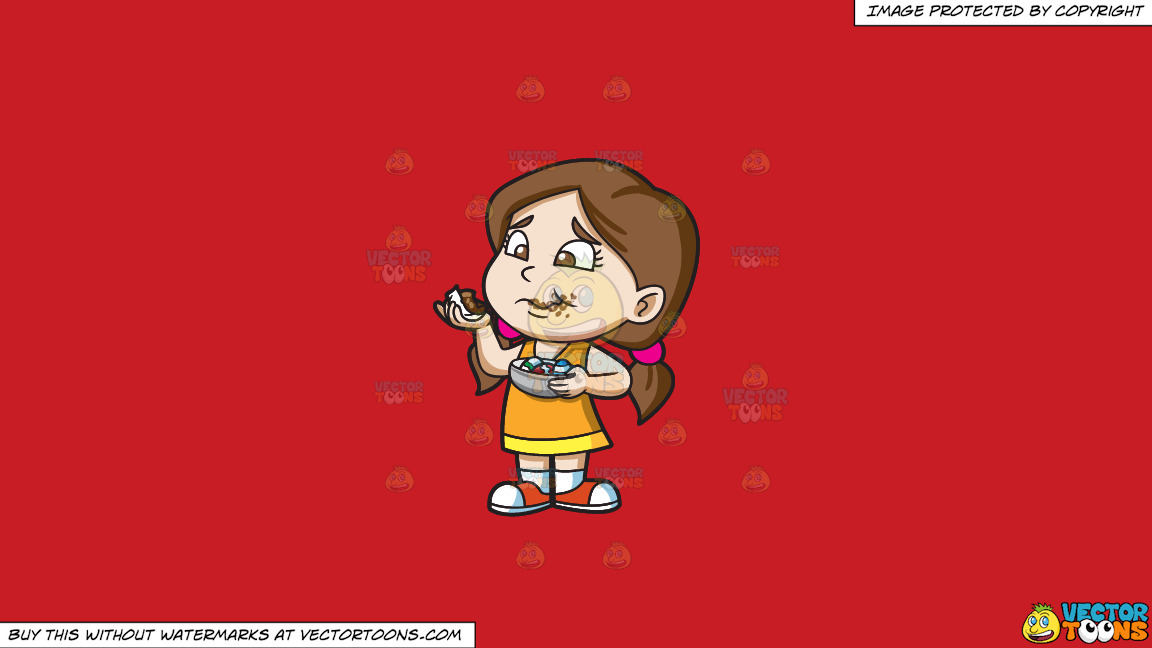 A Girl Messily Eats Some Easter Egg Chocolates On A Solid Fire Engine Red C81d25 Background thumbnail
