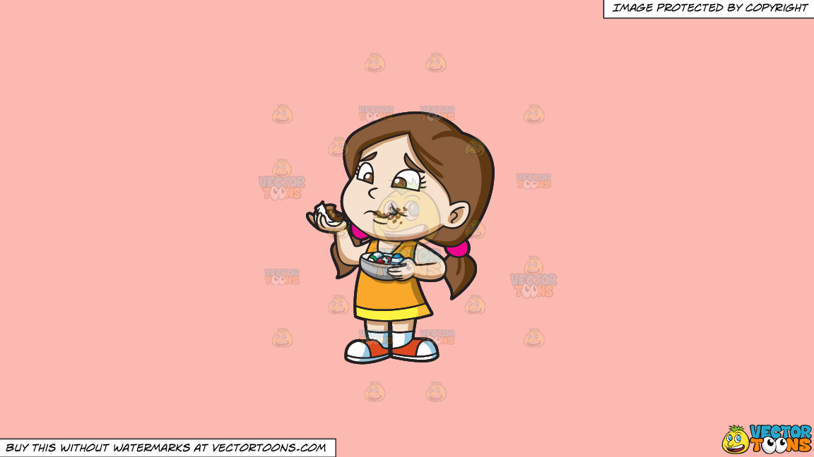 A Girl Messily Eats Some Easter Egg Chocolates On A Solid Melon Fcb9b2 Background thumbnail